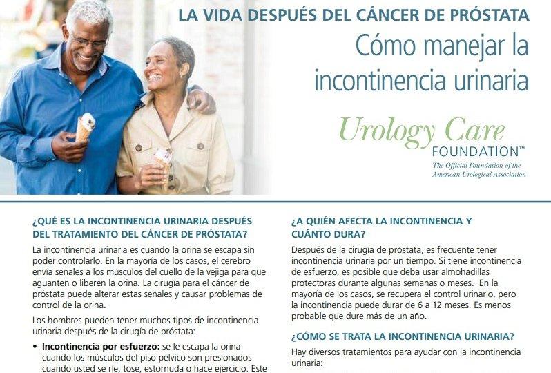 incontinencia después del cáncer de próstata